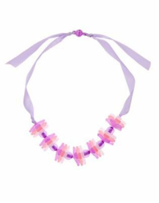 Gymboree Cherry Blossom Purple Pink & White Flower Ribbon Necklace Girls