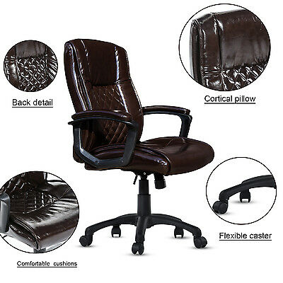 PU Leather Executive Office Chair Mid-Back Ergonomic Computer Desk Task Brown