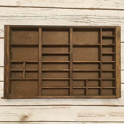 "Small Vintage Wooden Printer's Letter Tray Drawer Display Organizer 10"" x 16"""