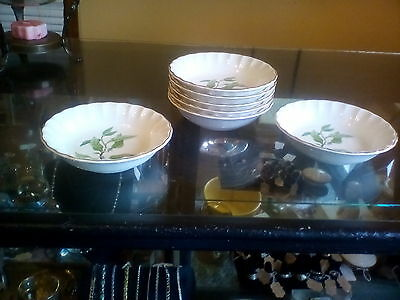 W S George China Green Valley Bolero Orange Blossom 7 - 5 inch Berry Bowls