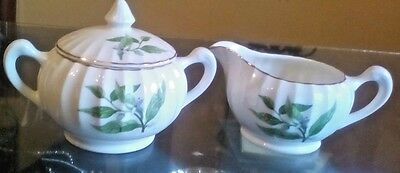 W S George China Green Valley Bolero Orange Blossom Cream and Sugar Set