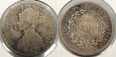 MARTINIQUE: 1897 50 Centimes #WC73565