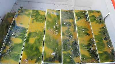Tiles Vintage Gold Yellow Green Victorian Antique Fireplace Mantle 33 Pieces