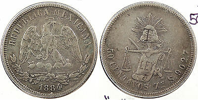 MEXICO: 1884/3-Zs S 50 Centavos With 'T' counterstamp #WC60933