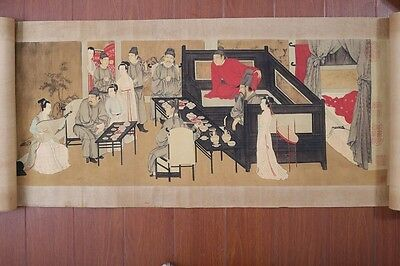 Very Long Rare Old Chinese Scroll Hand Painting Figures YeYanTu Marks PP176