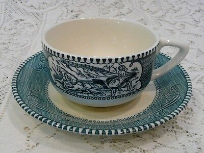 Currier Ives Royal China Blue and White Tea Cup Saucer Set