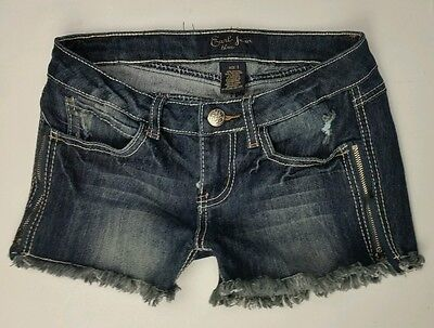 Earl Jean Blue Size 1 Frayed Cut Off Distressed Denim Stretch Shorts Side Zip