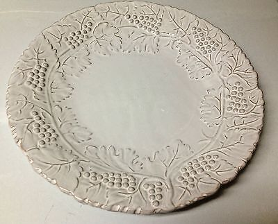 "Lot of 12   Pier1  EARTHENWARE 11.25"" Embossed Platters/Plates WHITE GRAPES"
