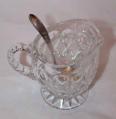 Crystal Glass Sugar Bowl/Cup w/ Silver Plated Scoop Mini Ladle Caddy Spoon