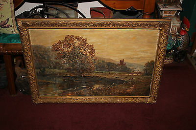 Antique Landscape Oil Painting Signed SCHARTT-Cows Grazing Water Flower Trees
