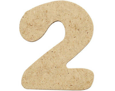 SALE - 10 Small 40mm Wooden MDF Numbers - 2 | Wood Shapes for Crafts