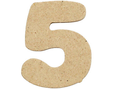 SALE - 10 Small 40mm Wooden MDF Numbers - 5 | Wood Shapes for Crafts