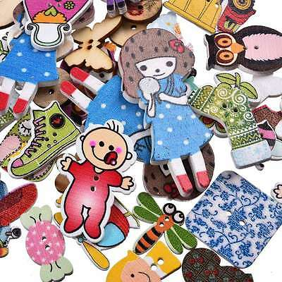 Wood Mixed Style Button 50Pcs Mixed Color Apparel Craft/kids Sewing Random