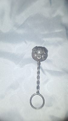 antique silver plate baby rattle figural pig