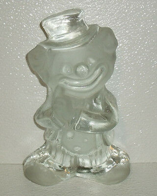 """Viking Glass Clown Vtg 7.25"""" With Sticker Paperweight Bookend"""