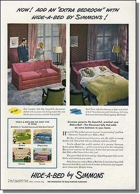 1947 Add An Extra Bedroom - Simmons Hide-A-Bed Photo Ad