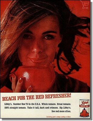 1965 Woman in Red - Libby's Tomato Juice Photo-Ad