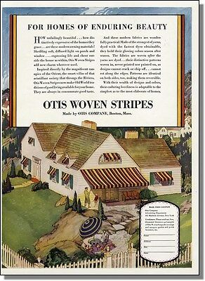 1928 Otis Striped House Awnings and Canopies Color-Ad