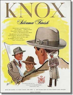 1948 Knox Silk Texture Hats for Men Vintage-Ad