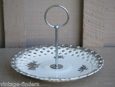 Old Vintage Seyei Round Serving Plate w Center Handle Fine China of Japan