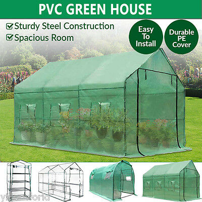 Walk In Greenhouse Garden Green House Hot Plant House Shed PE Cover Apex Roof AU