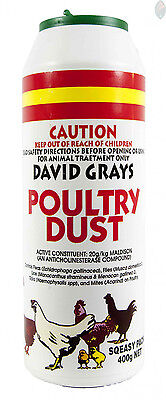 David Gray's Poultry Dust 400g Maldison Lice Fleas Feather Mites Ticks Pest