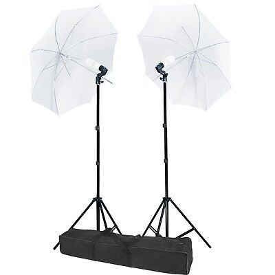 "2 x 33"" White Umbrella Continuous Lighting Photography Light Stand Kit Carry Bag"