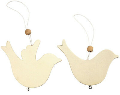10 Hanging Wooden Bird Shapes to Decorate - 7.5 & 9.5cm