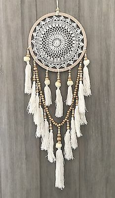 Light Brown 26.5cm Boho Crochet Dream Catcher White Web/Cream Pom Poms & Tassels