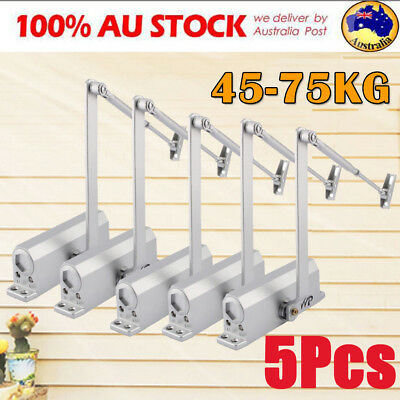 5Pcs Adjustable Automatic Fire Rated Overhead Silver Door Closer Suits 45-75KG