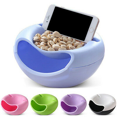 Double Layer Snack Fruit Plate Bowl Dish Phone Holder for TV Lazy Useful Eyeful