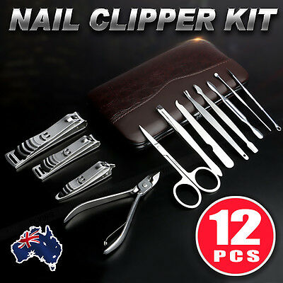 12Pcs Stainless Nail Clippers Kit Manicure Pedicure Set  Grooming oz