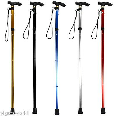 Adjustable Handle Folding Travel Cane Aluminum Metal Walking Stick Trusty Base