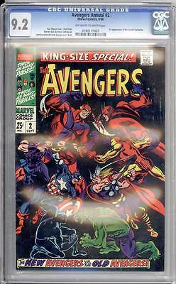 Avengers Annual # 2 The New Avengers vs the Old Avengers ! CGC 9.2 scarce book !