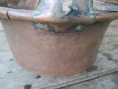 Antique French copper cauldron with handle