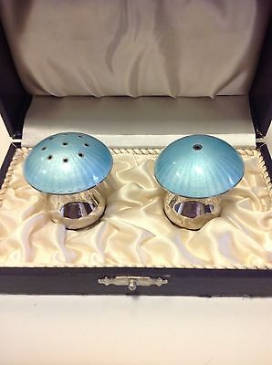 Vintage: Guilloche Enamel and Solid Silver Toadstool Cruet Set boxed