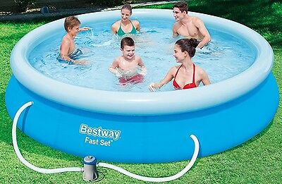 """NEW Bestway Inflatable Fast Set Swimming Pool with Pump 12ft x 30"""" - Blue"""