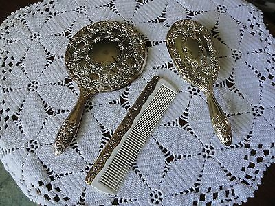 Vintage Towle Silversmiths Dresser Vanity 3 Pc Set Silver Plated Victorian
