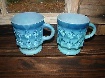2 Fire King Anchor Hocking Blue Kimberly Coffee Cup Mugs Mid Century Kitchen