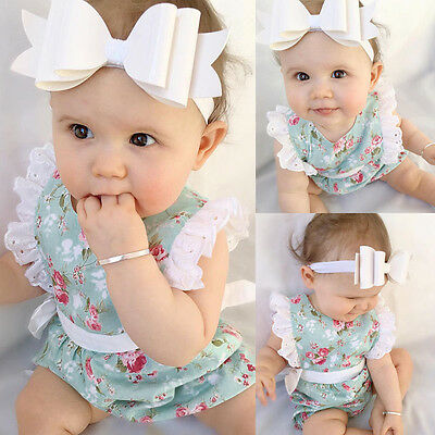 Sweet Newborn Toddler Baby Girl Clothes Lace Floral Romper Bodysuit Outfit 0-24M