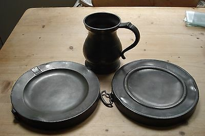 19Th Century Pewter Panwarmers  And Lawden & Poole Tankard.