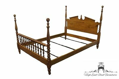 ETHAN ALLEN Heirloom Nutmeg Maple Full Size Four Poster Cannonball Bed
