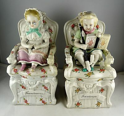 Pair of Antique German Porcelain Fairing Boxes - Grandpapa, Grandmama