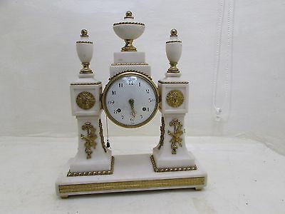 French Louis XVI 8 Day Pull-Repeat White Marble Mantel Clock Gilt Bronze For TLC