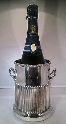Vintage silver plated wine/ champagne  bottle coaster wooden base Walker & Hall