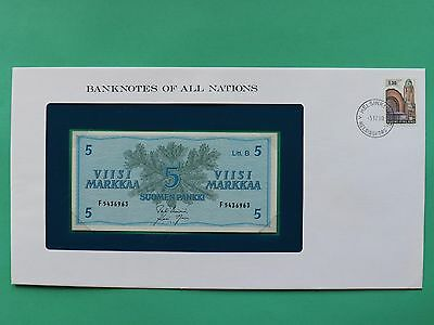 1963 Finland 5 Markkaa Uncirculated Franklin Mint Banknote Cover SNo46073