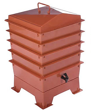 Terracotta TIGER RAINBOW WORMERY, 4 x Stacking Tray, Composter Waste,Compost Bin
