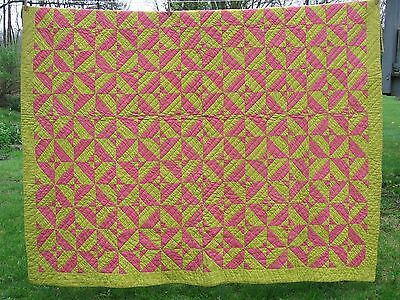 Double Pink & Yellow ~ Circa 1860 -1890 Quilt