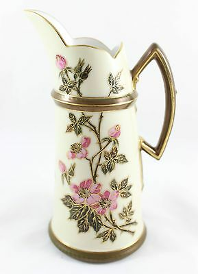 Gilt Antique T&v Limoges China Pitcher Tankard Hand Painted Gold Pink Flowers