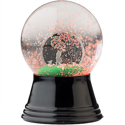 CHERRY BLOSSOM SILVER COIN IN SNOW GLOBE Cook Islands 2017 *excellent for gift *